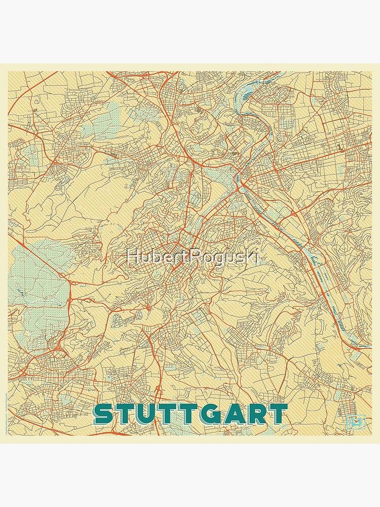 Stuttgart Map Retro by HubertRoguski