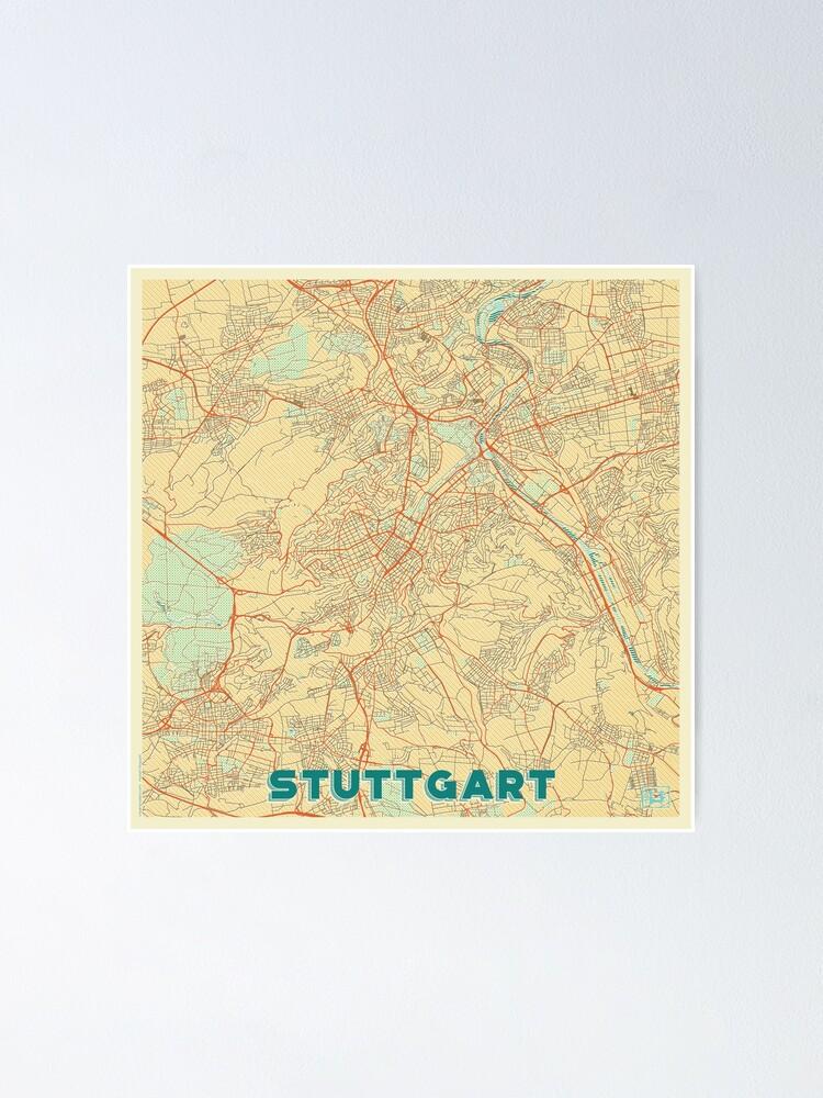Alternate view of Stuttgart Map Retro Poster
