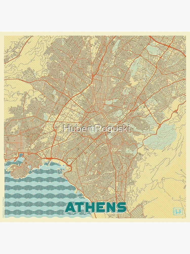 Athens Map Retro by HubertRoguski