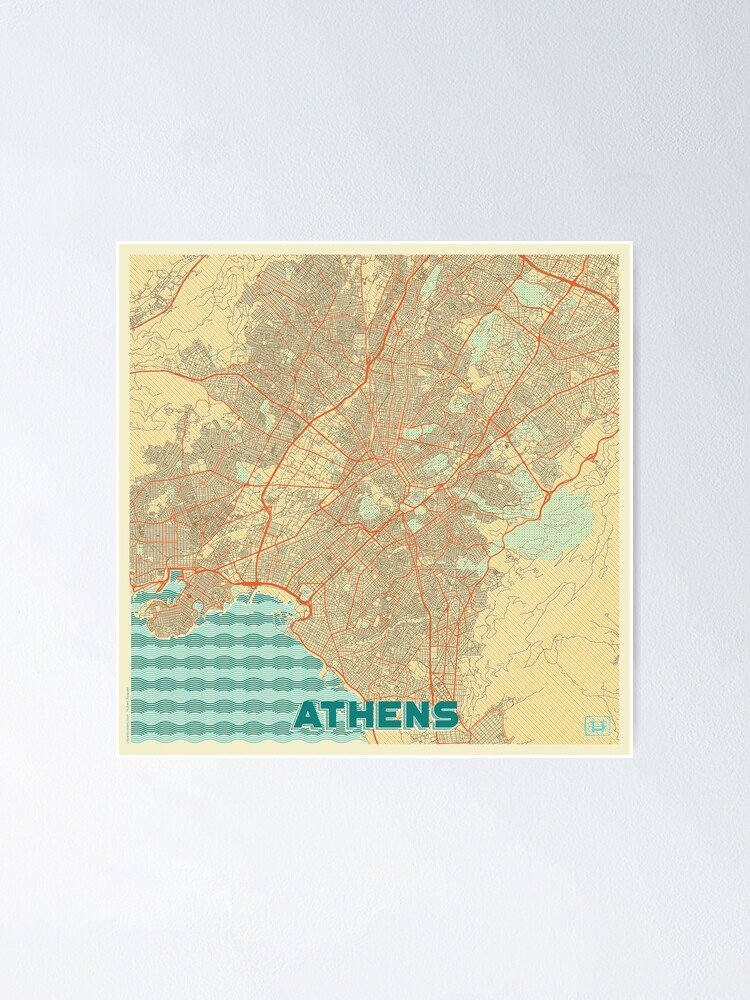 Alternate view of Athens Map Retro Poster