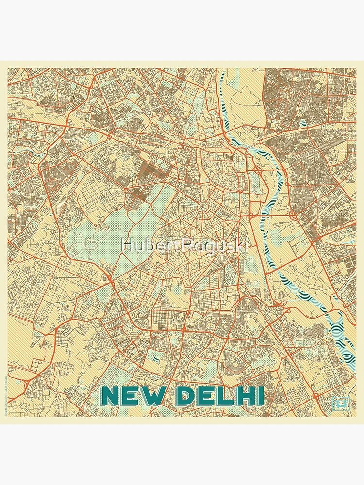 New Delhi Map Retro by HubertRoguski