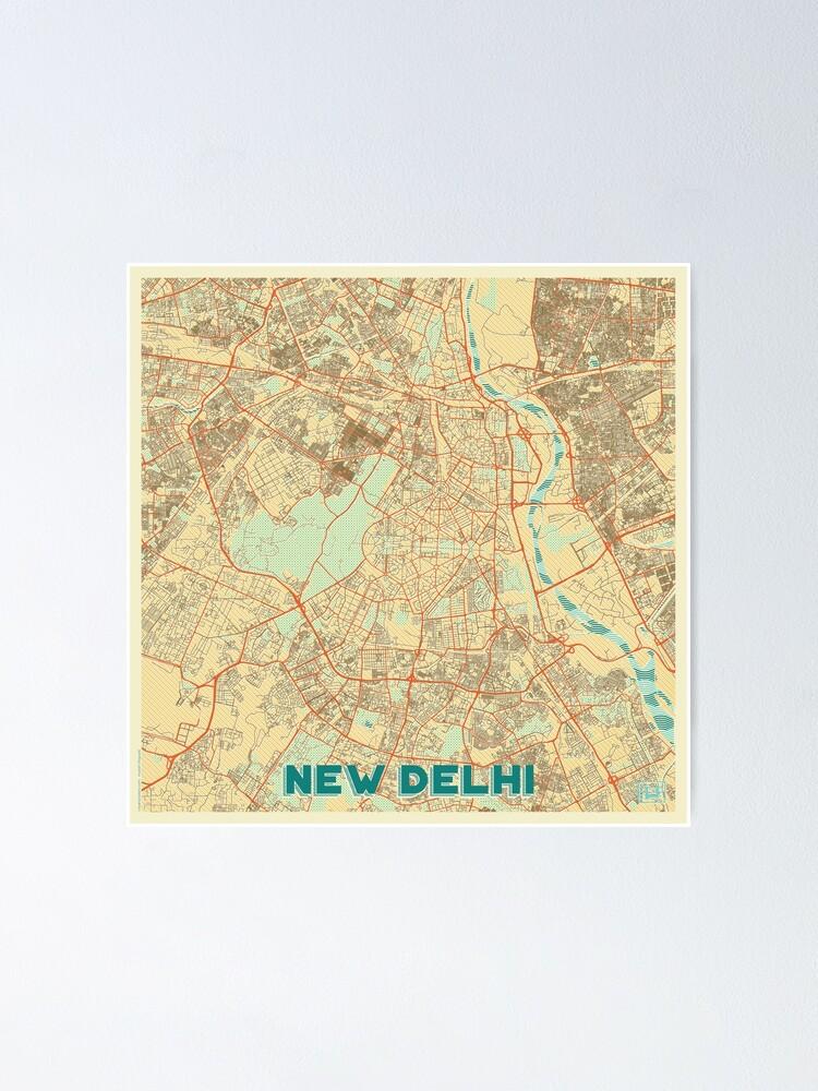 Alternate view of New Delhi Map Retro Poster