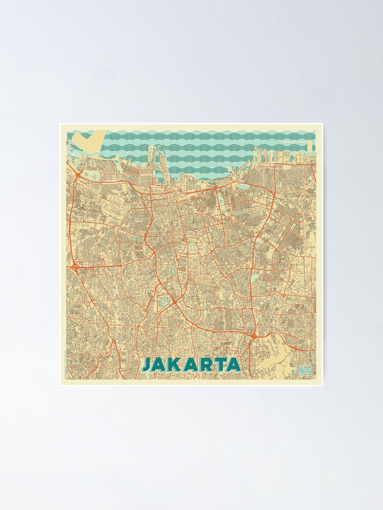 Alternate view of Jakarta Map Retro Poster