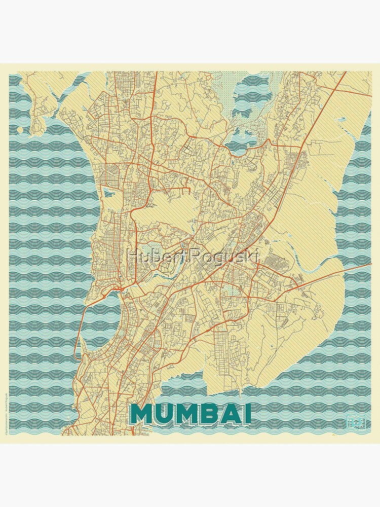 Mumbai Map Retro by HubertRoguski