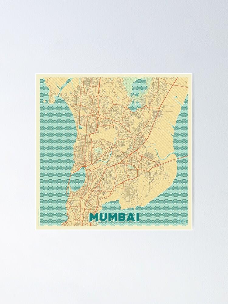 Alternate view of Mumbai Map Retro Poster