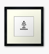 keep calm and edit wikipedia Framed Print