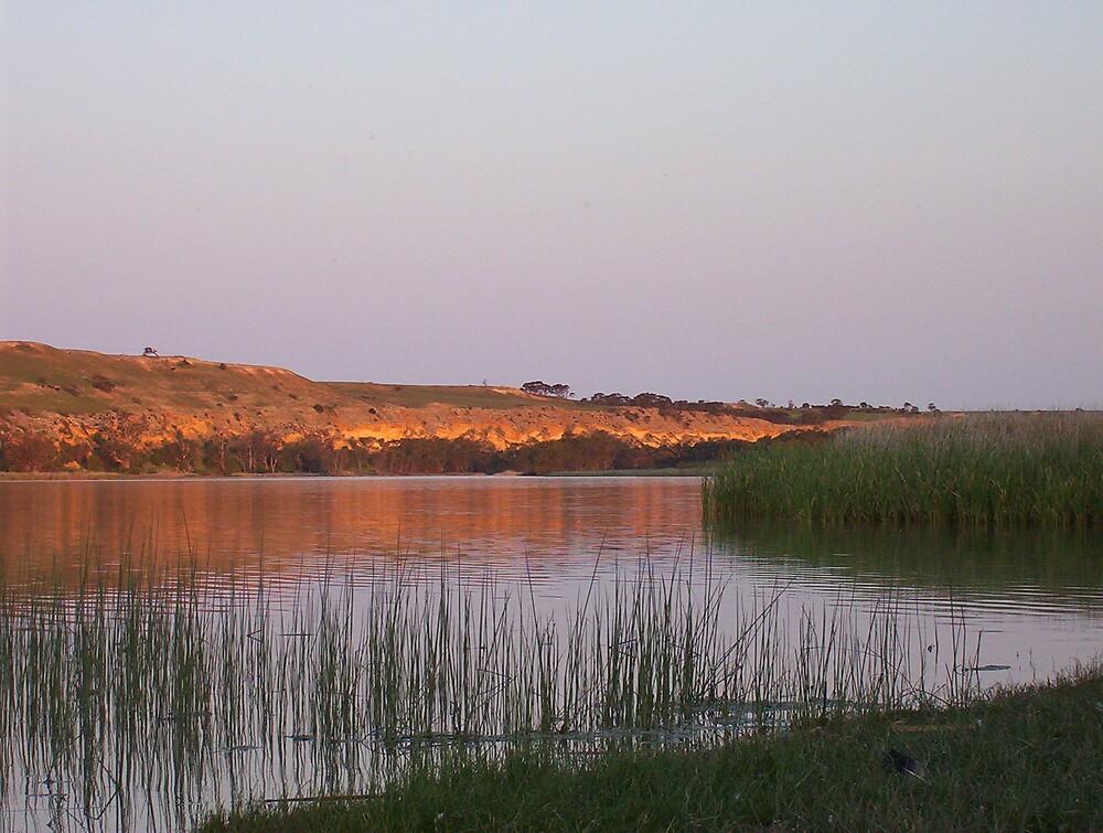 Dusk, overlooking a lagoon on the Murray River near Bow Hill by Juliashmoolia