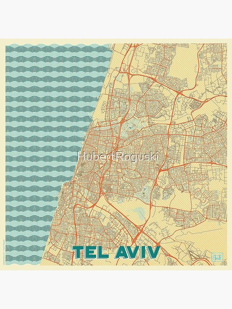 Tel Aviv Map Retro by HubertRoguski