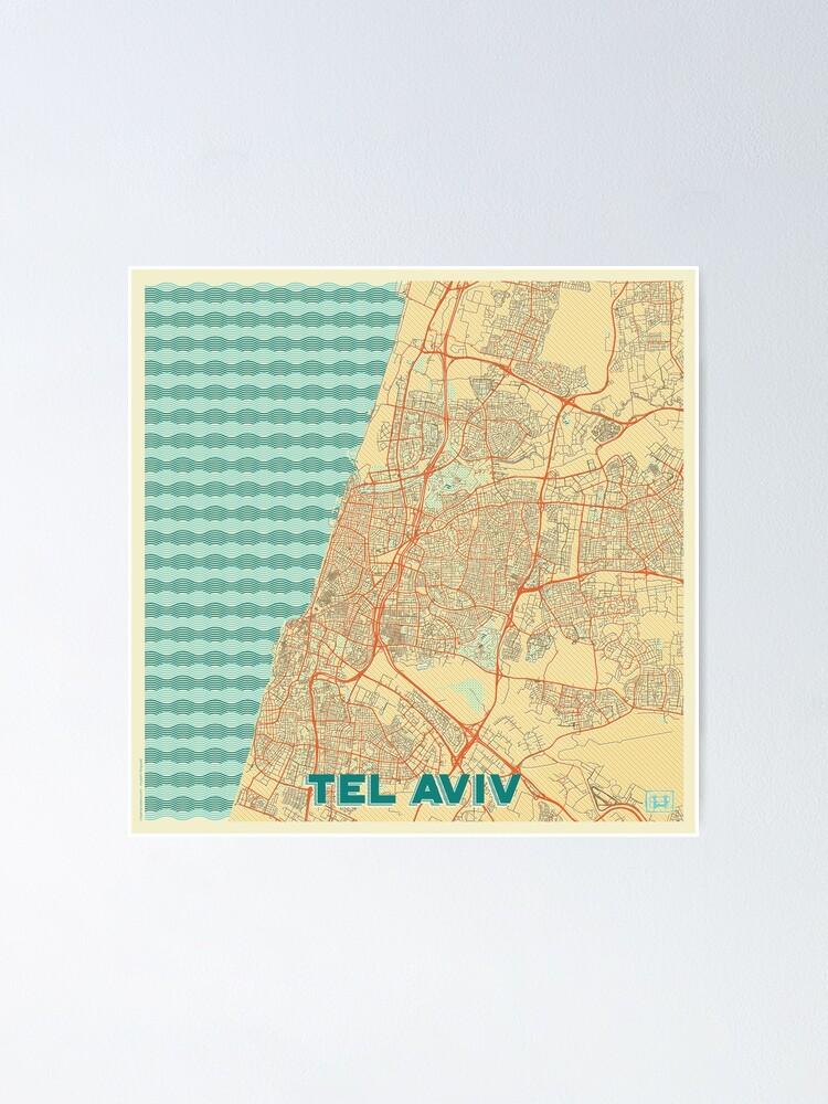 Alternate view of Tel Aviv Map Retro Poster