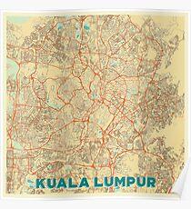 Kuala Lumpur Map Retro Poster