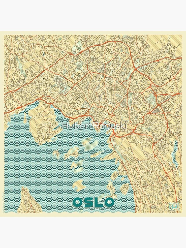 Oslo Map Retro by HubertRoguski