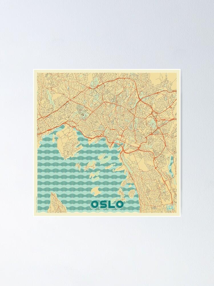 Alternate view of Oslo Map Retro Poster