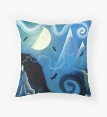 Ravens by the Ocean Throw Pillow