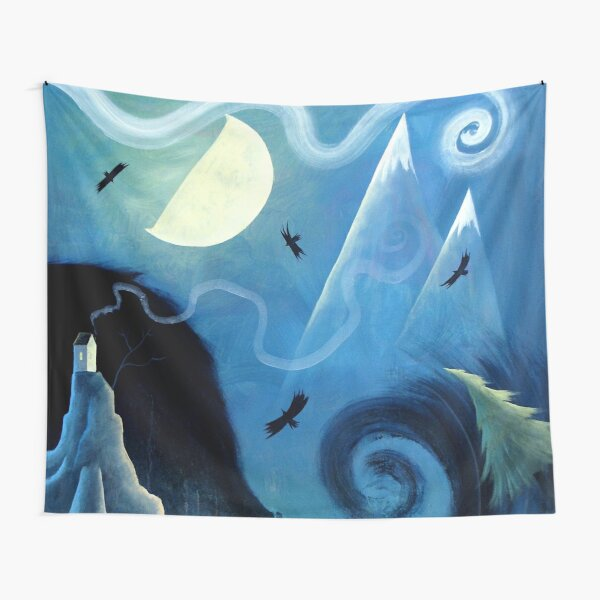 Ravens by the Ocean Tapestry