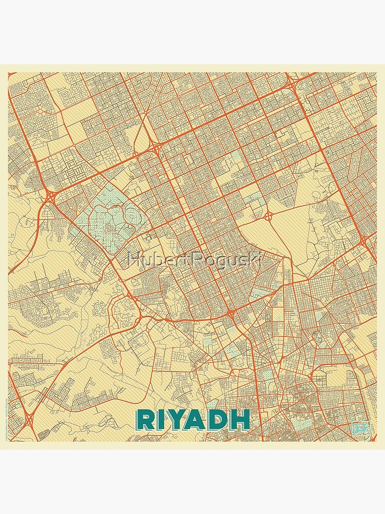 Riyadh Map Retro by HubertRoguski