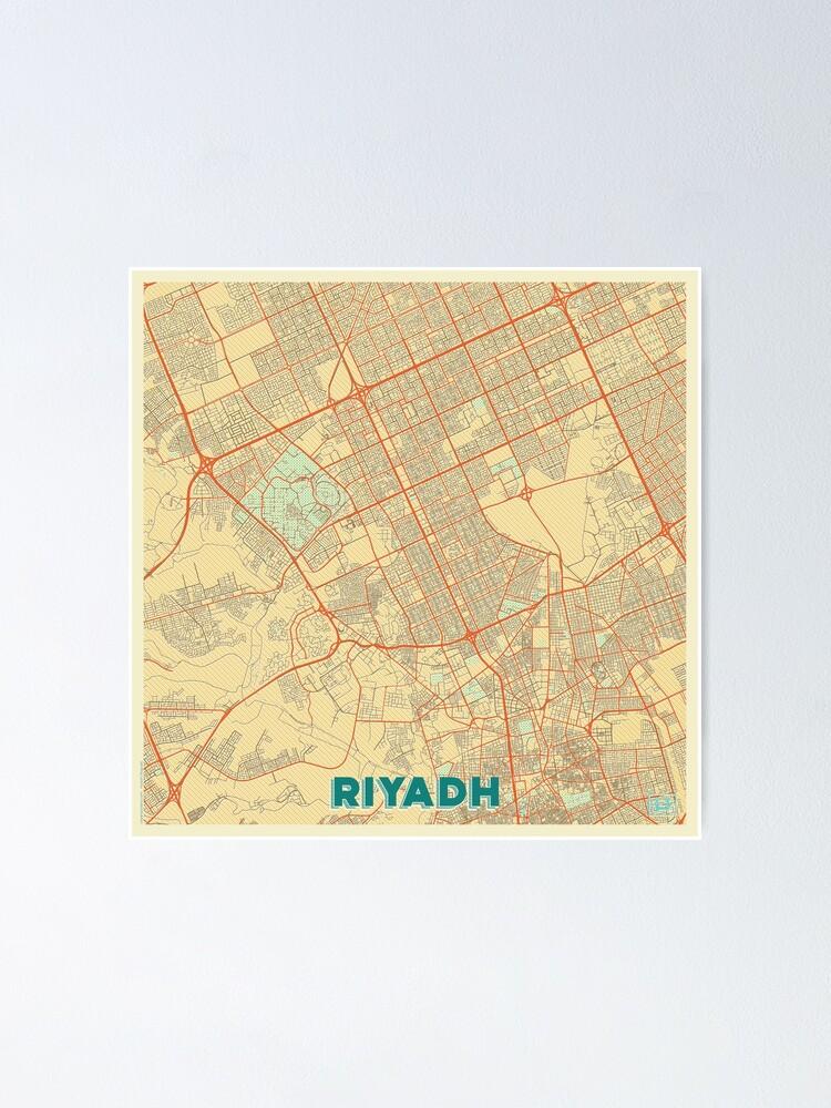 Alternate view of Riyadh Map Retro Poster