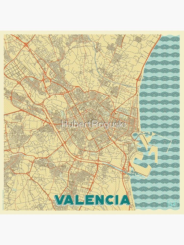 Valencia Map Retro by HubertRoguski