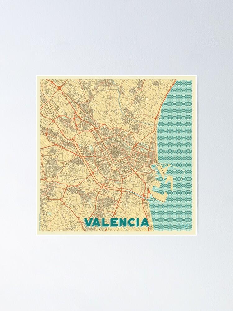 Alternate view of Valencia Map Retro Poster