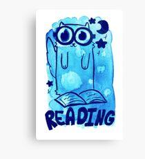 Reading Watercolor Cat Canvas Print