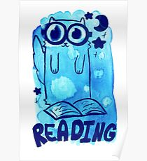 Reading Watercolor Cat Poster