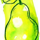 Green Yellow Watercolor Pear by SaradaBoru