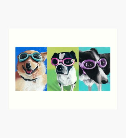 Dogs in Goggles Art Print