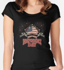 Celebrate Independence Day Patriotic July 4 Women's Fitted Scoop T-Shirt