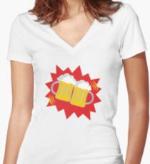 beer glass celebrate Women's Fitted V-Neck T-Shirt