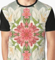 Vintage Pink & White Flower Kaleidoscope Pattern Graphic T-Shirt
