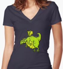 Huff 'n' Puff The Dragon Women's Fitted V-Neck T-Shirt