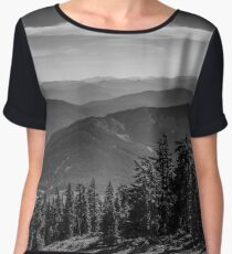Cascade mountains from Pacific Crest Trail monochrome Chiffon Top