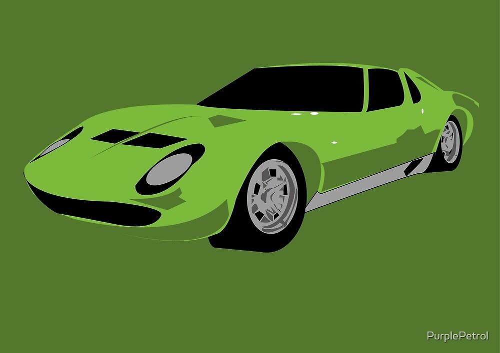 Green Lamborghini Miura Graphic By Purplepetrol Redbubble