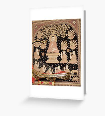 Budda wall art in temple - So. Calif. Greeting Card