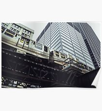 Chicago Commuter Train on Elevated Tracks Poster