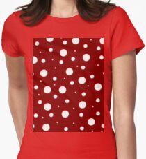 Red Mushroom, asymetric polka dot pattern, white circles Womens Fitted T-Shirt