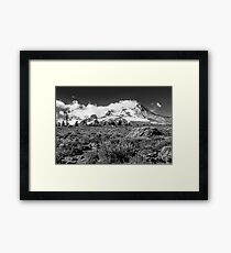 Mt Hood and lupines from Pacific Crest Trail monochrome Framed Print