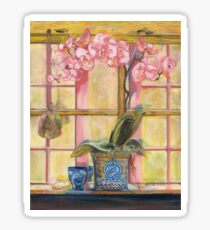 Elizabeth's Pink Orchid in a Sunny Window Sticker