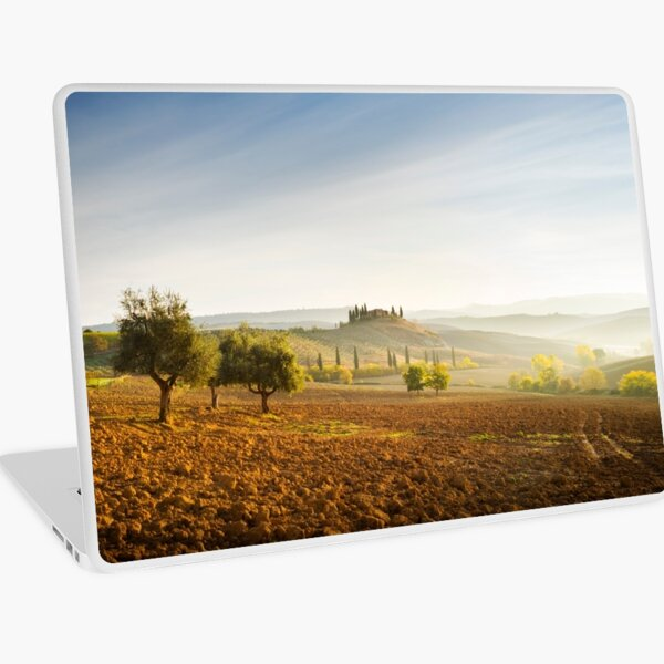 Misty sunrise in the Val D'Orcia, Tuscany Laptop Skin