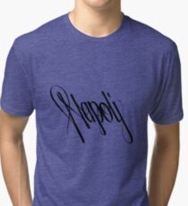 Napoli - Naples, Italy Black on White hand script writing design Tri-blend T-Shirt