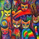 Rainbow cats acrylics by Karin Zeller