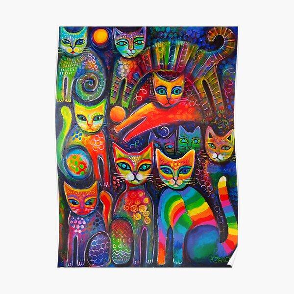 Rainbow cats acrylics Poster