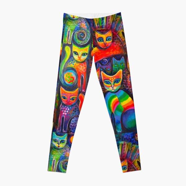 Rainbow cats acrylics Leggings