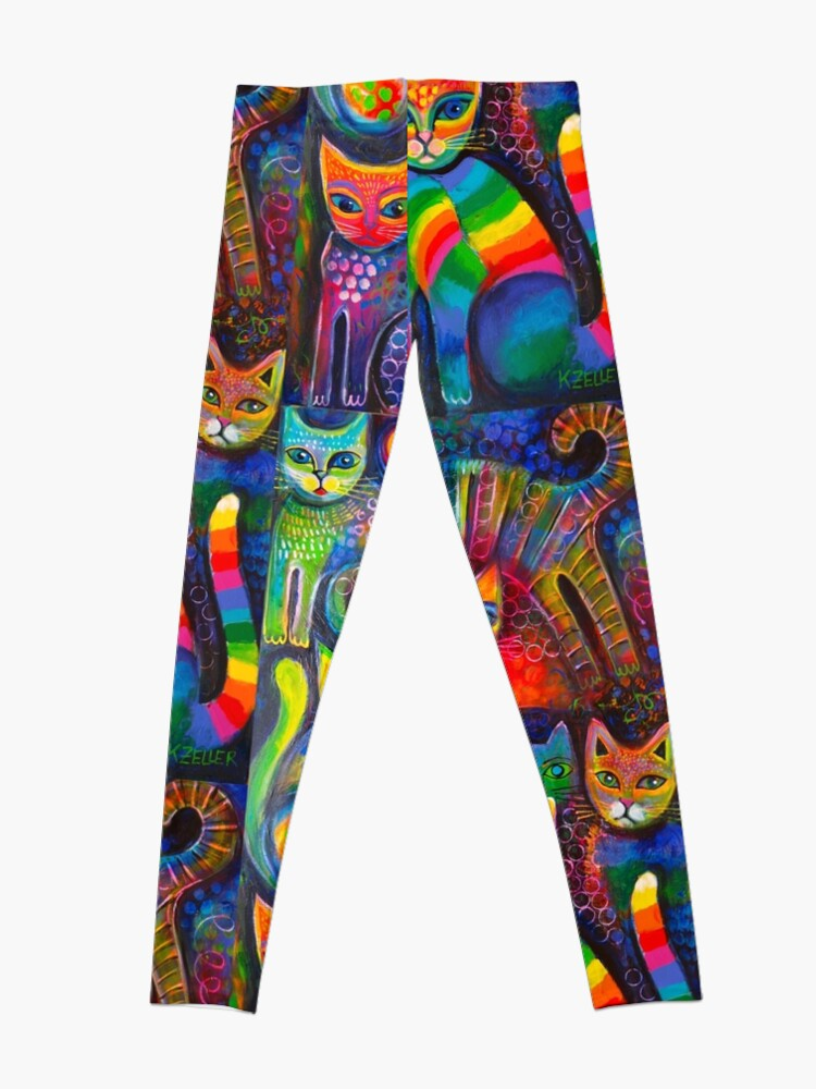 Alternate view of Rainbow cats acrylics Leggings