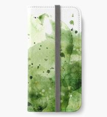 green watercolor Splash iPhone Wallet