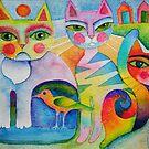 Cats and bird by Karin Zeller