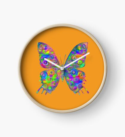 #DeepDream Motley Butterfly Clock