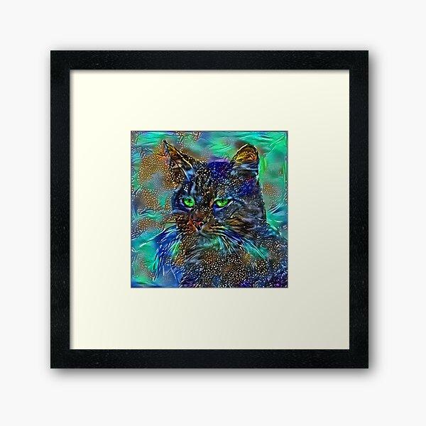 Artificial neural style Starry night wild cat Framed Art Print