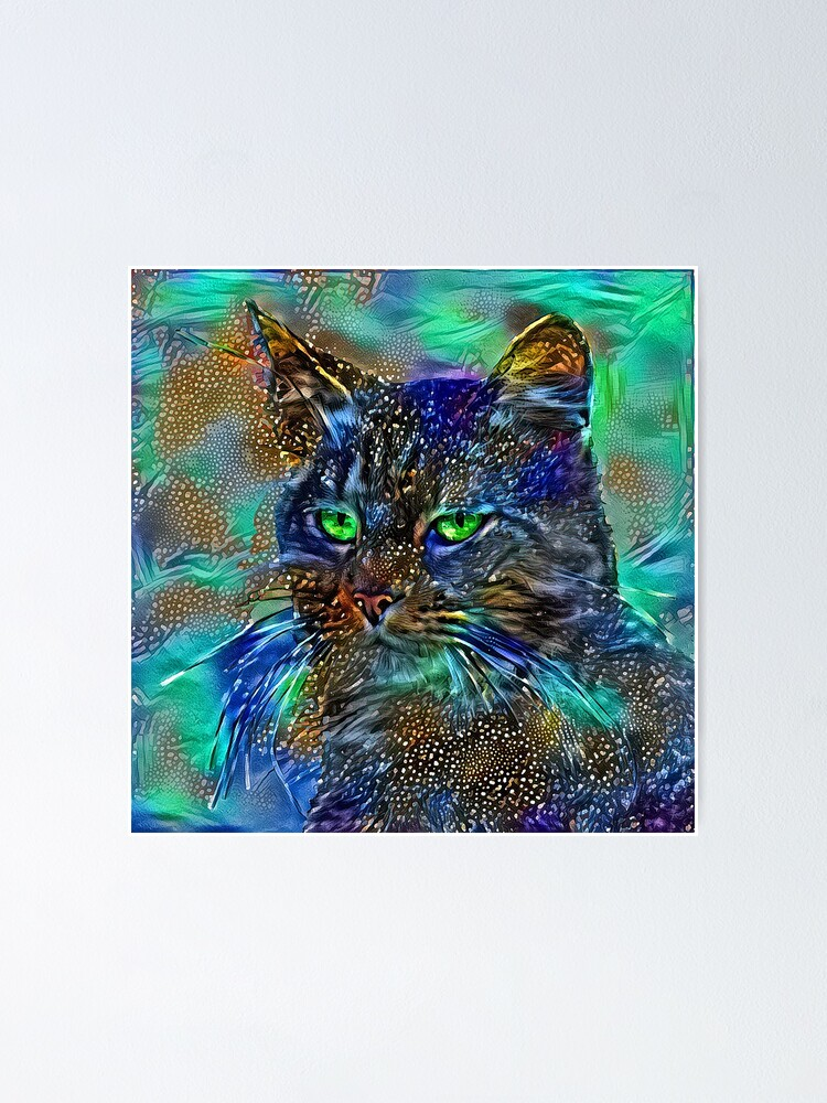 Alternate view of Artificial neural style Starry night wild cat Poster