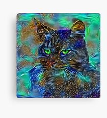 Artificial neural style Starry night wild cat Canvas Print