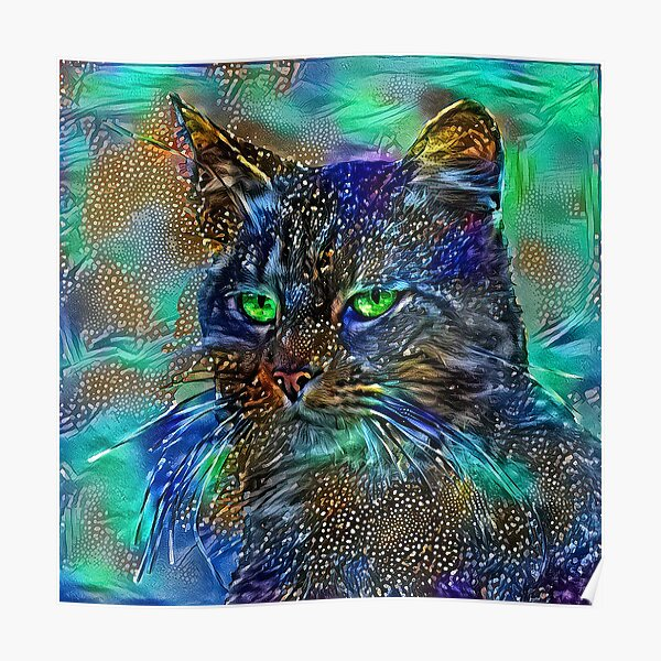 Artificial neural style Starry night wild cat Poster